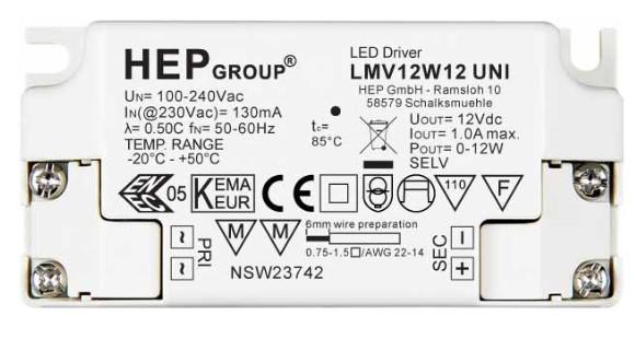LMV12W24 UNI LED Konverter 24V - 12W HEP