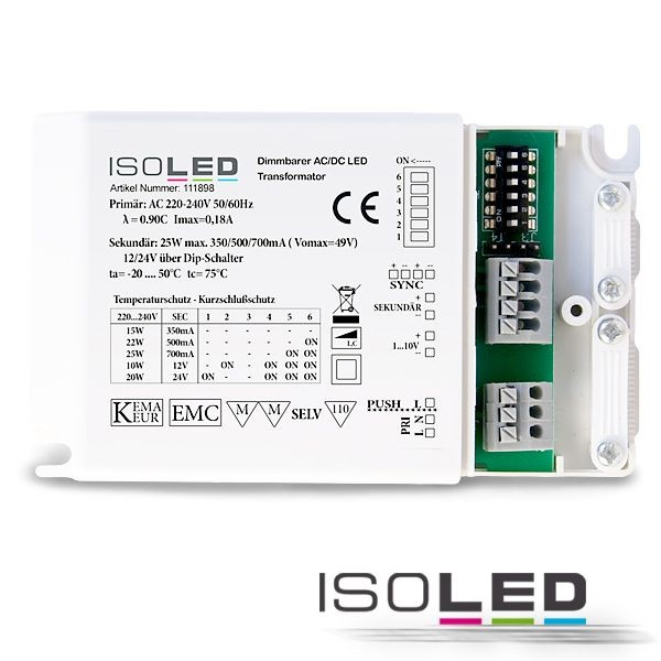 111989 LED Konverter Multi 700mA/12V/24V 25W ISOLED - dimmbar - DIP-Schalter