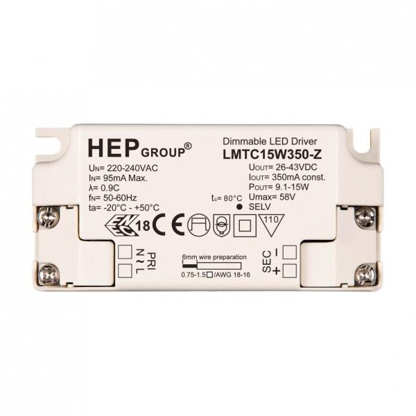 LMTC15W350-Z LED Konverter 350mA, 9-15W HEP - dimmbar Phasenan-/abschnitt